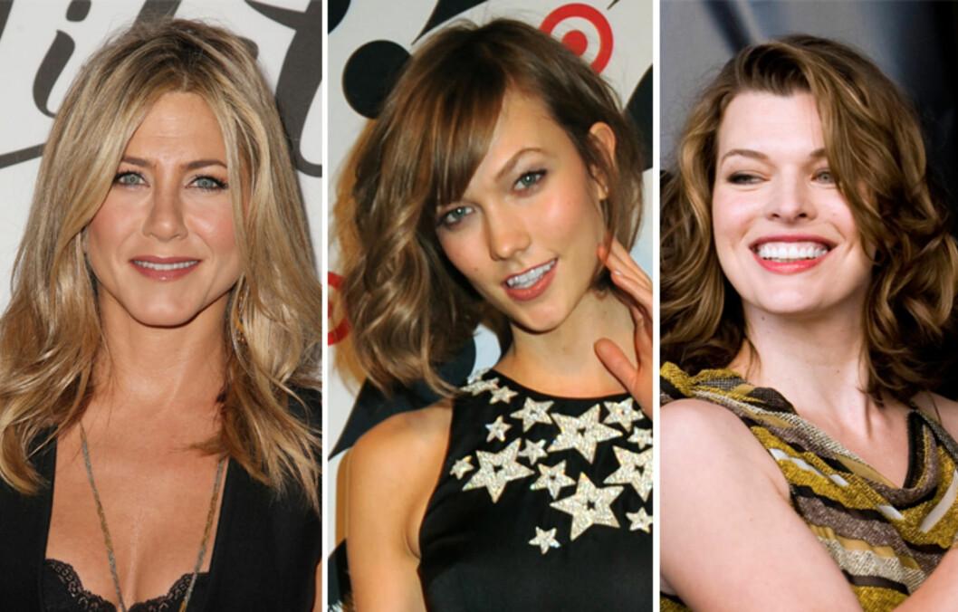 <strong>SKULDERLANGT:</strong> Jennifer Aniston (f.v.), Karlie Kloss og Mila Jovovich. Foto: All Over Press