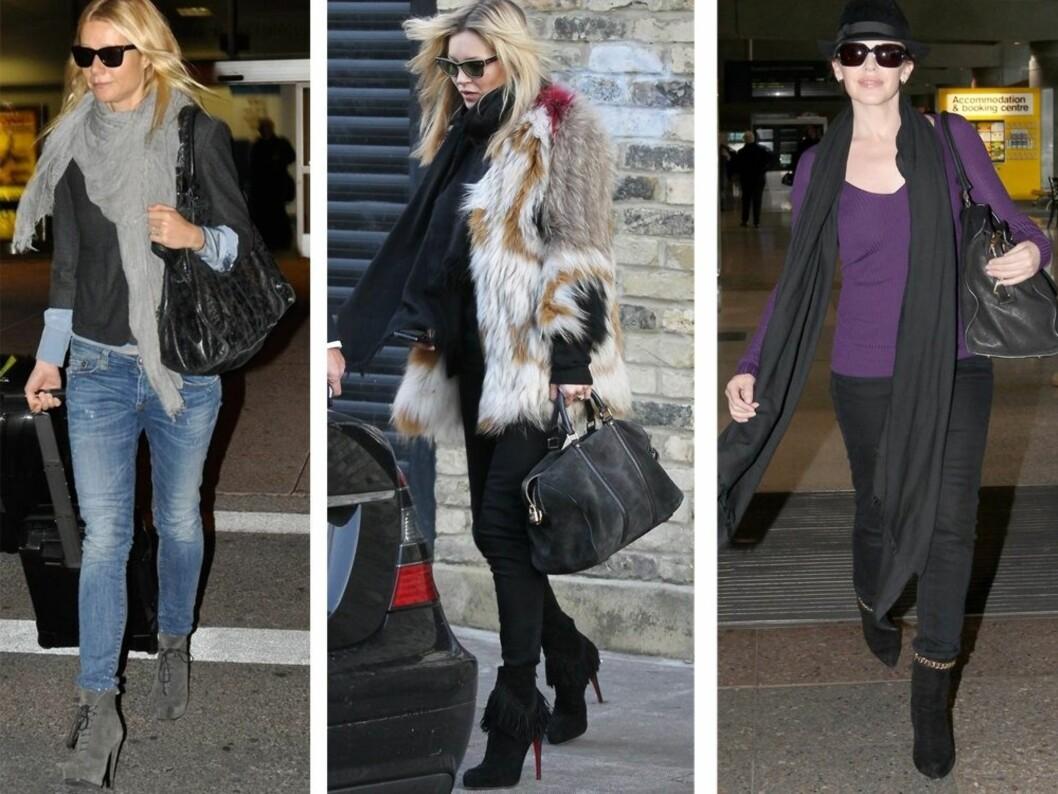 GIR EN ROCKA STIL: Skuespiller Gwyneth Paltrow i slitte olabukser til semskede grå boots, svart dressjakke, stort skjerf og klassiske svarte RayBan Wayfarer-briller. Supermodell Kate Moss topper sine sexy Christian Louboutin-støvler med et par supersmale svarte jeans, kort vintage pelsjakke og skrå kattebriller. Popstjerne Kylie Minogue går for et par rocka semskede boots med naglepynt til jeans, lille topp og hatt. Foto: All Over Press
