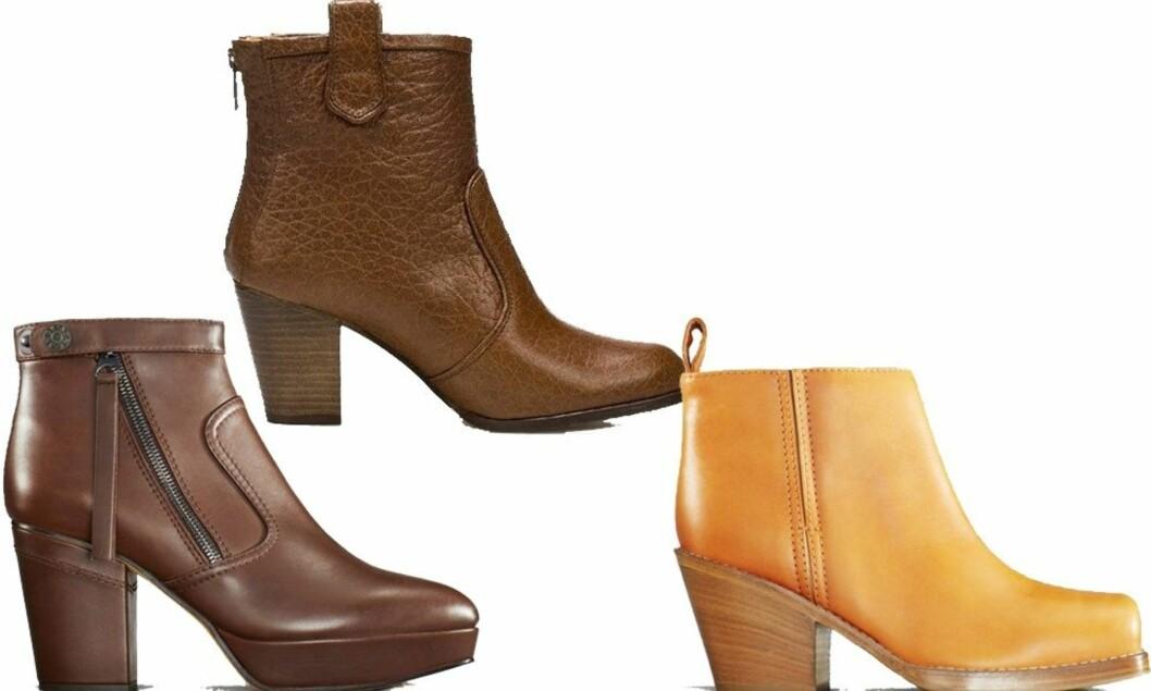 I mokkafarget skinn med platå foran og kraftig hæl (kr 3495, Acne), i ruglete skinn med rund tupp (kr 960, Zara) og i lys kamel med cowboyhæl (kr 2995, Acne). Foto: Produsenter