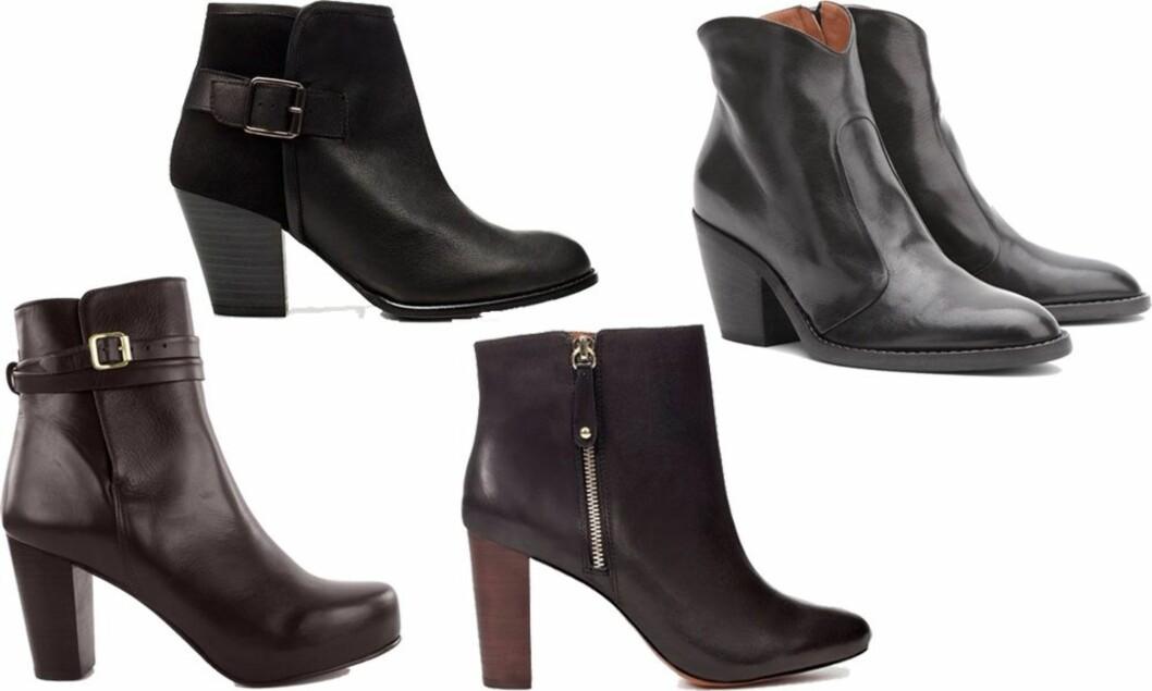 Med platåtupp og spenne (kr 960, Zara), med glidelås og hæl i tre (kr 800, Zara) og med cowboyhøl (kr 960, Zara) og i cowboystil (fra Marc Cain).