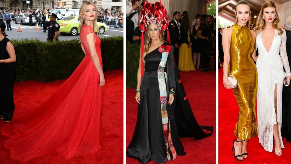 LILY DONALDSON OG SARAH JESSICA PARKER I H&M OG TOPSHOP: Noen av stjernene gikk for kjoler fra billigkjeder fremfor luksuriøse designmerker under nattens fasjonable Met-galla.  Foto: Scanpix