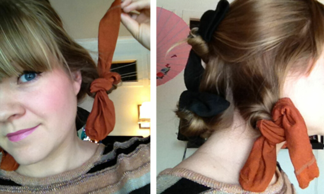 KNYT: Del håret inn i fire seksjoner, rull det rundt sokkene og knyt en knute. Foto: Aina Kristiansen