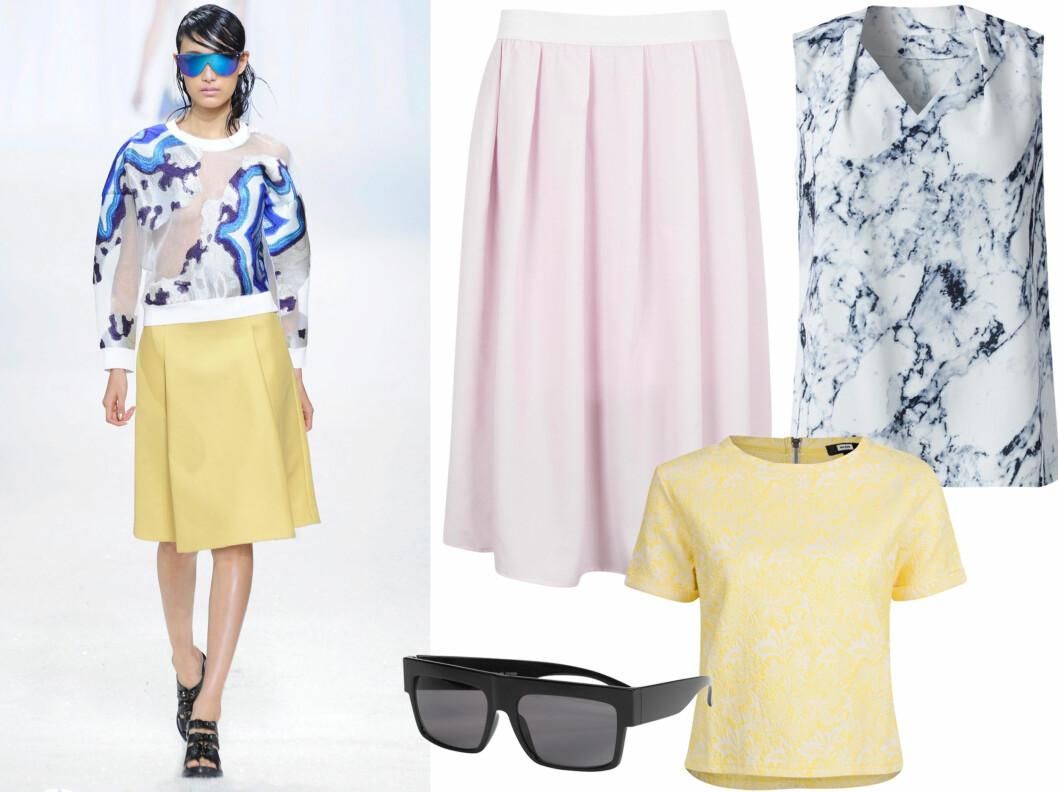FRISKE PASTELLER: 3.1 Phillip Lim går for en sporty og stilren stil denne sesongen. Lyserosa skjørt (kr 250, Bik Bok), mønstret ermeløs bluse (kr 400, Mq), gul topp (kr 200, Bik Bok) og kule solbriller (kr 80, Gina Tricot). Foto: All Over Press/Produsenter