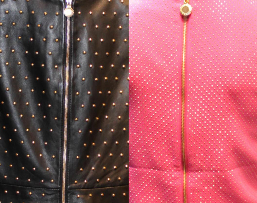 <strong>RYGGDEKOR:</strong> Skinnkjolen og den rosa minikjolen er også dekket med nagler bak. Foto: Cecilie Leganger