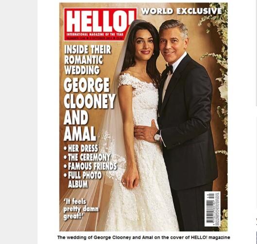 GIFTET SEG I OSCAR DE LA RENTA: Amal og George Clooney giftet seg i begynellsen av oktober. Foto: Faksimile: Hello Magazine october 2014