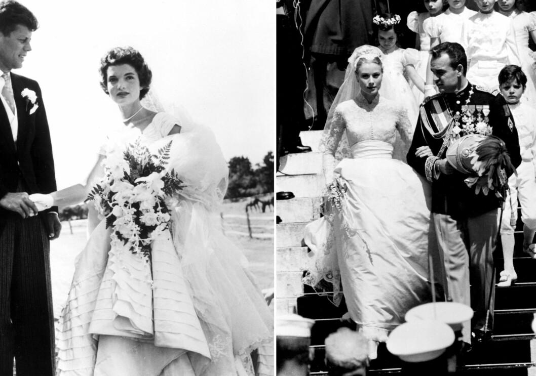 I BRUDEKJOLE FRA OSCAR DE LA RENTA: Da Jackie O. giftet seg med John F. Kennedy i 1953, og Grace Kelly med sin fyrst Rainer i 1956, var det i kjoler signert Oscar de la Renta. Foto: All Over Press
