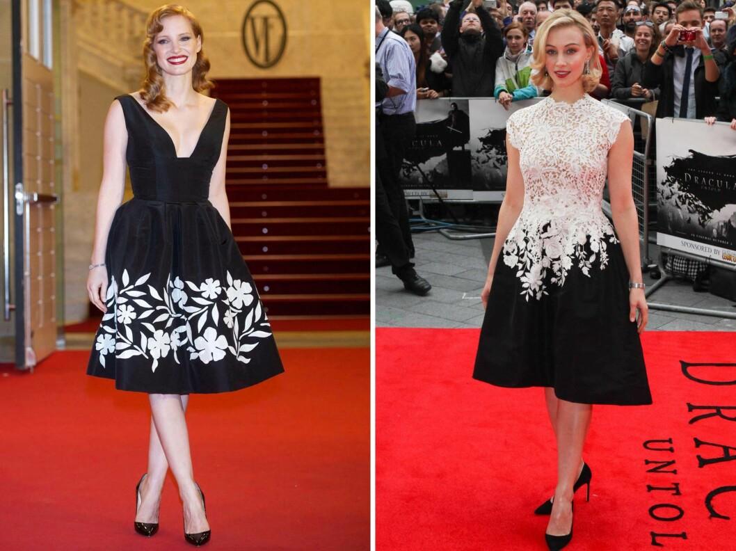 I SORT OG HVITT: Skuespillerne Jessica Chastain og Sarah Gadon i kjoler fra Oscar de la Renta. Foto: All Over Press