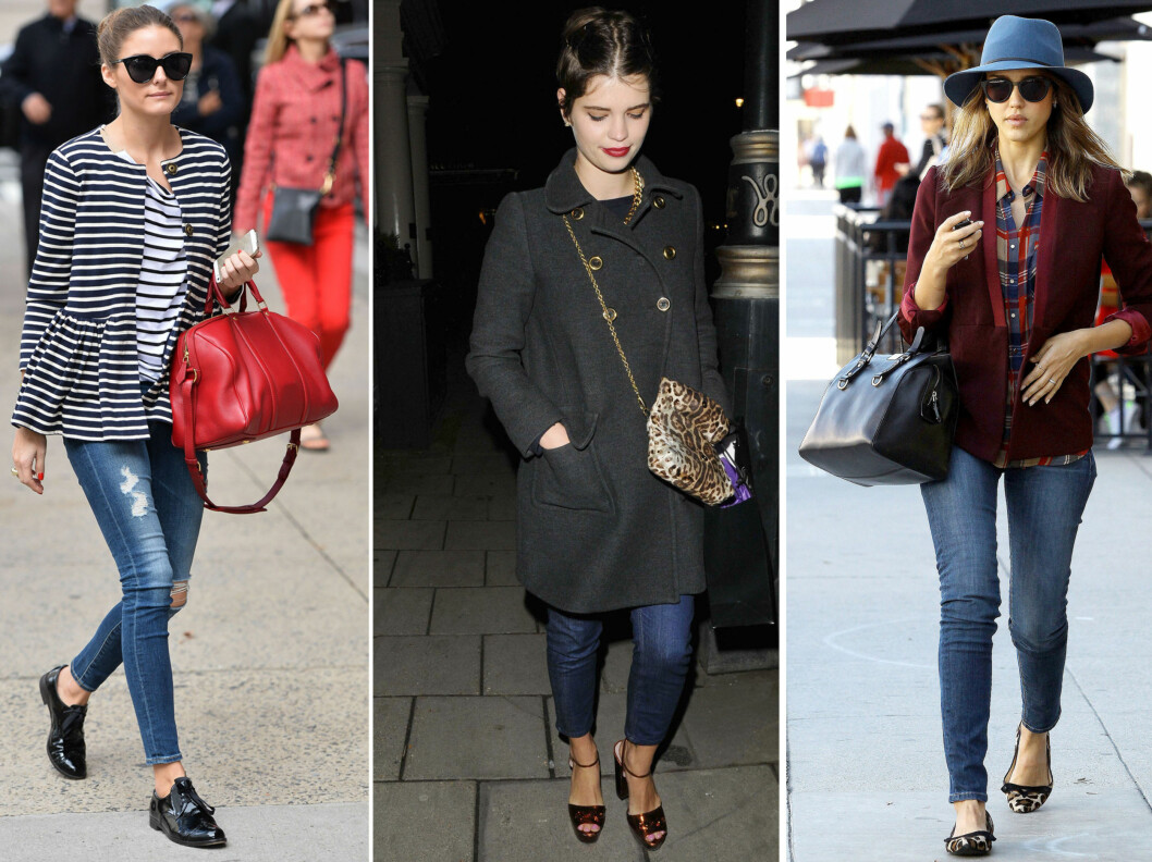 <strong>HER ER IT-LENGDEN PÅ HØSTENS JEANS:</strong> Stilikonene Olivia Palermo, Pixie Geldof og Jessica Biel går alle for jeans som går til rett over ankelen. Foto: All Over Press