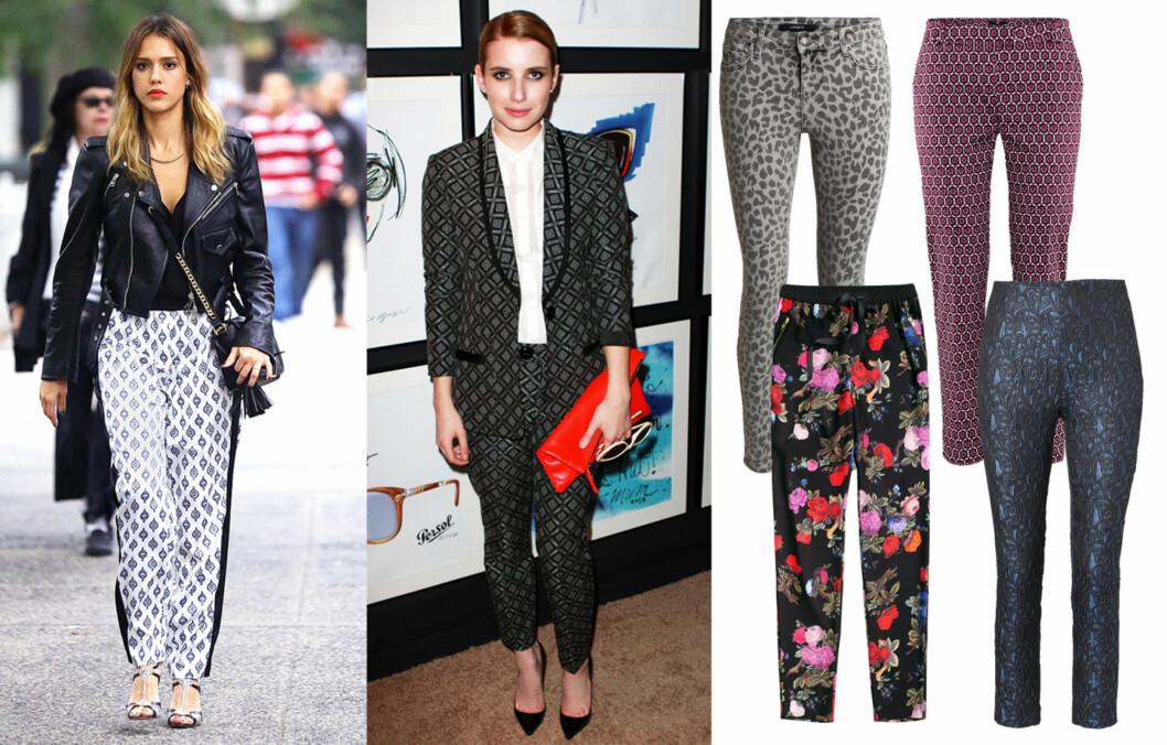 MØNSTRETE BUKSER: Kjendiser som Jessica Alba og Emma Roberts har lagt sin elsk på de mønstrete buksene. Foto: All Over Press og produsentene