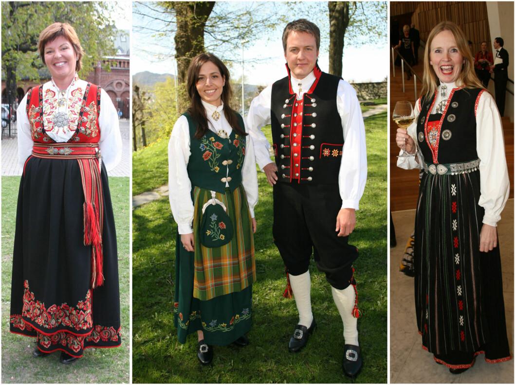 Wenche Andersen har bunad fra Øst-Telemark, Isabella Martinsen har Nordlandsbunad, mens Agnete Haaland har en vinterbunad fra Nordhordaland. Foto: All Over Press