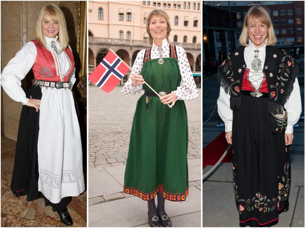 Mia Gundersen har trolig en kvinnebunad fra Nordmøre, Cille Biermann har grønnstakk fra øvre Hallingdal, mens Anniken Huitfeldt har Rogalandsbunad.  Foto: All Over Press