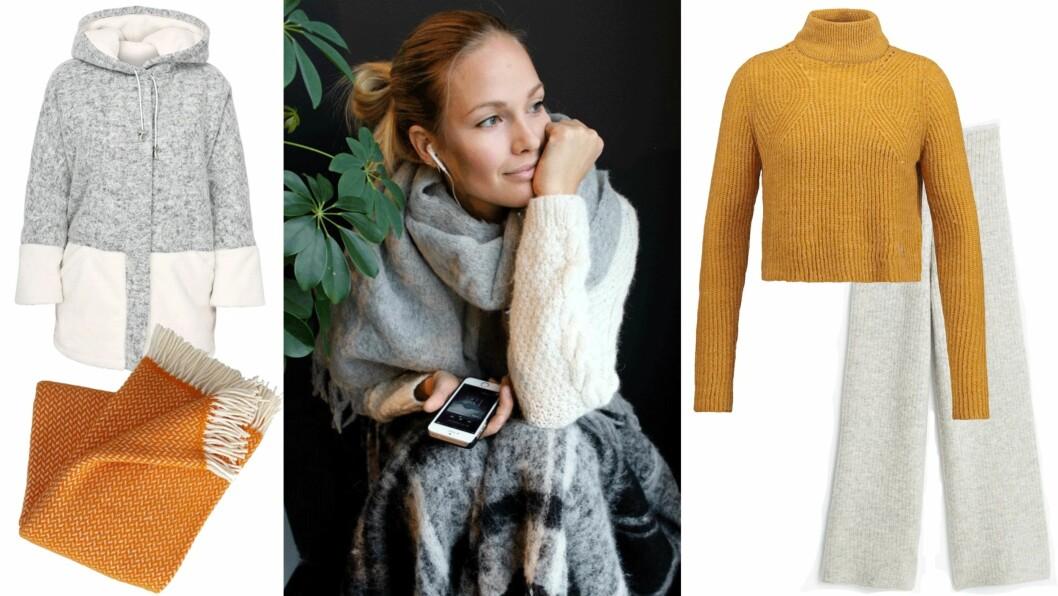 <strong>STRIKKEPLAGG:</strong> Maria Skappel Holzweiler viser deg hvordan hun bruker sine strikkeplagg. Her er våre favoritter. Hvor plaggene er fra, kan du lese lenger ned i saken. Foto: Mariaskappel.no, Produsentene