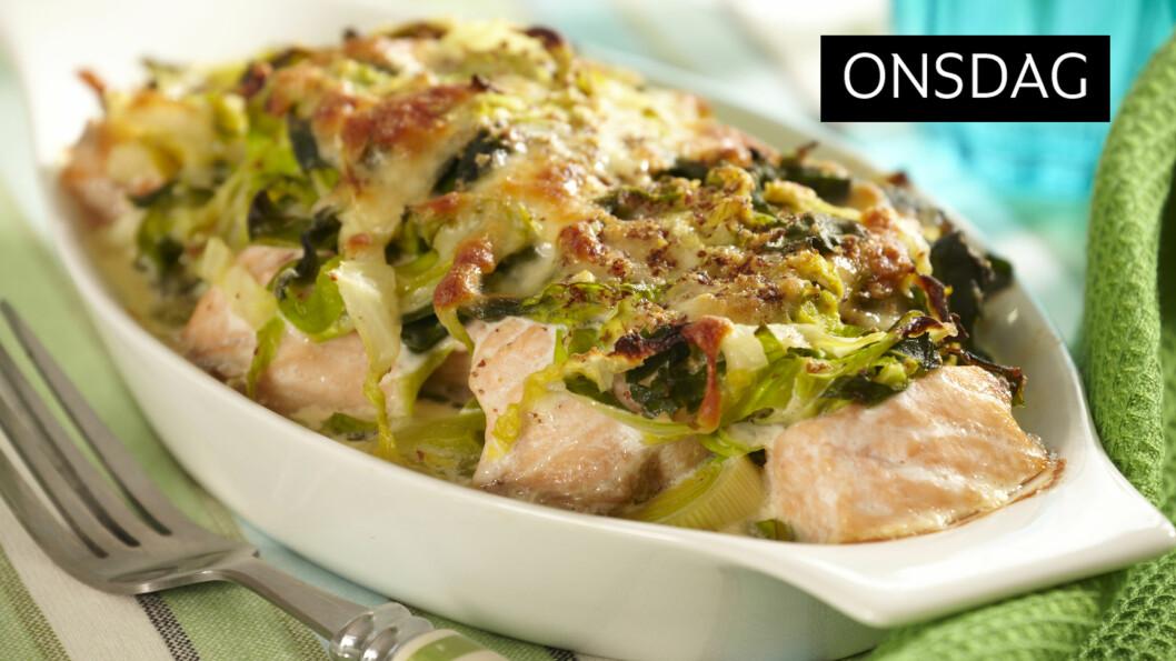 OVNSBAKT LAKS: Et sunt og godt måltid som faller i smak hos hele familien.  Foto: All Over Press