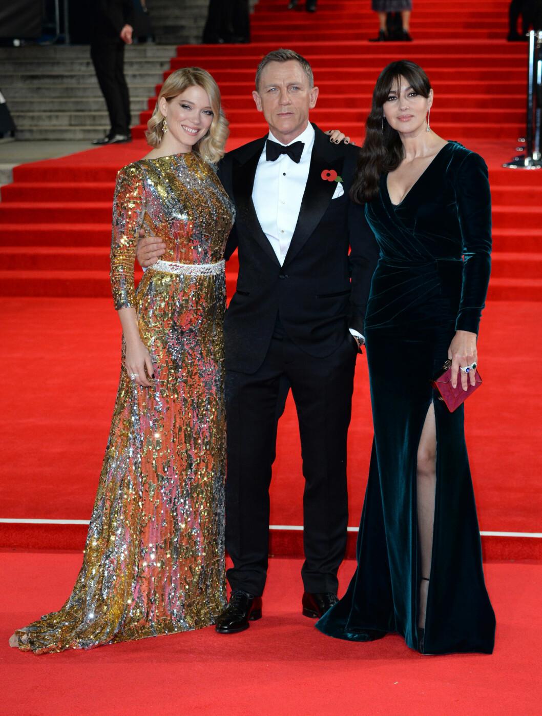 Lea Seydoux, Daniel Craig og Monica Bellucci. Foto: Pa Photos