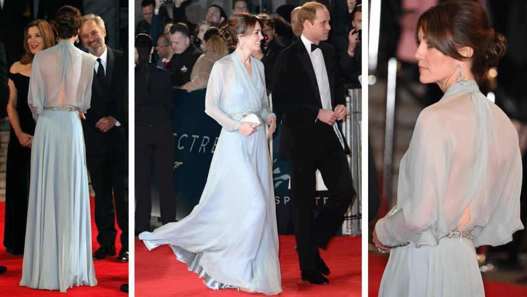 MØTTE OPP UTEN BH: Hertuginne Kate (33) kom sammen med prins William (33) på premieren av den nye Bond-filmen Spectre. Hun overrasket publikum med å møte opp i en delvis gjennomsiktig kjolen med åpen rygg, og utelot bh-en for anledningen. Foto: Scanpix