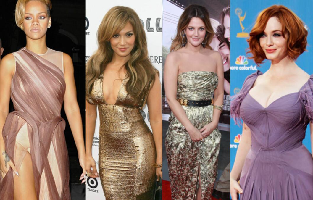 <strong>FINE FORBILDER:</strong> Skjønnhetene Rihanna, Jennifer Lopez, Drew Barrymore og Christina Hendricks er alle med på å bidra til at former er representert i den knallharde Hollywood-bransjen. Foto: NTB Scanpix