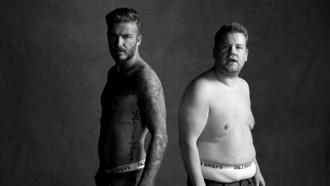 <strong>HUMORPOENG:</strong> Den tidligere fotballspilleren David Beckham har en kropp mange misunner ham, og blir ofte brukt som modell i diverse reklamekampanjer - i april gjorde komiker James Corden et humorpoeng ut av undertøysreklamene Beckham har figurert i, under sitt talkshow Late Late Show. Foto: NTB Scanpix