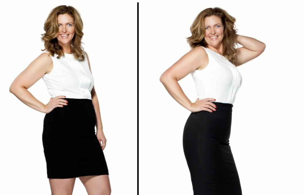 FØR OG ETTER: På bildet til venstre har KKs designer Gry Naley Andersen vanlig bh og truse under kjolen, mens hun på bildet til høyre har shapewear-kjole. Underkjolen gir henne enda mer definert fasong og ved å velge en underkjole i stedet for todelt shapewear, får dessuten Gry en jevn overgang. Magepartiet strammes opp og kjolen sitter som et skudd! Foto: KK.no