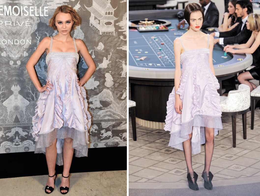 <strong>CHANEL COUTURE:</strong> Lily-Rose Depp (16) på lanseringsfesten i Chanel Couture. Foto: Scanpix