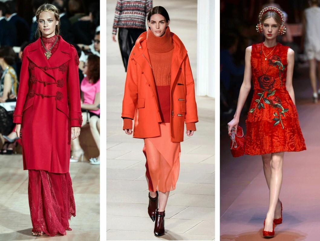 RØDT: (f.v.) Valentino, Prabal Gurung og Dolce & Gabbana. Foto: Scanpix