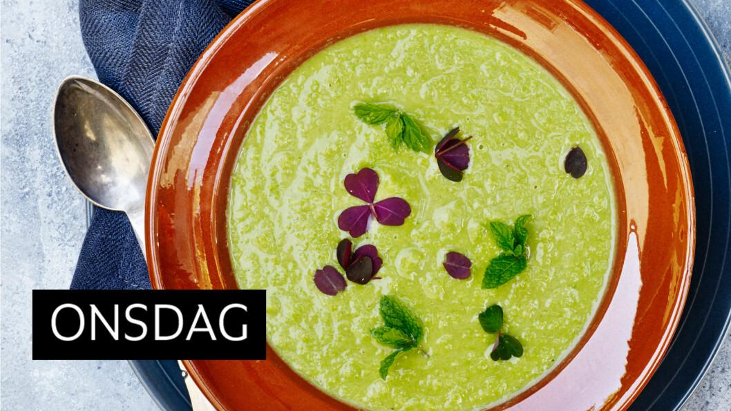 ERTESUPPE MED OSTESMØRBRØD: Sjekk ut den herlige grønnfargen! Blir du fristet? Det gjør vi.  Foto: Line Falck