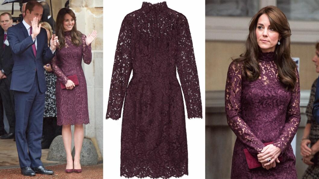 <strong>HERTUGINNE KATE I ITALIENSK DESIGN:</strong> Kjolen hertuginne Kate hadde på seg er fra Dolce & Gabbana og har en prislapp på nærmere 30 000 kroner. Foto: Scanpix, Net-a-porter.com
