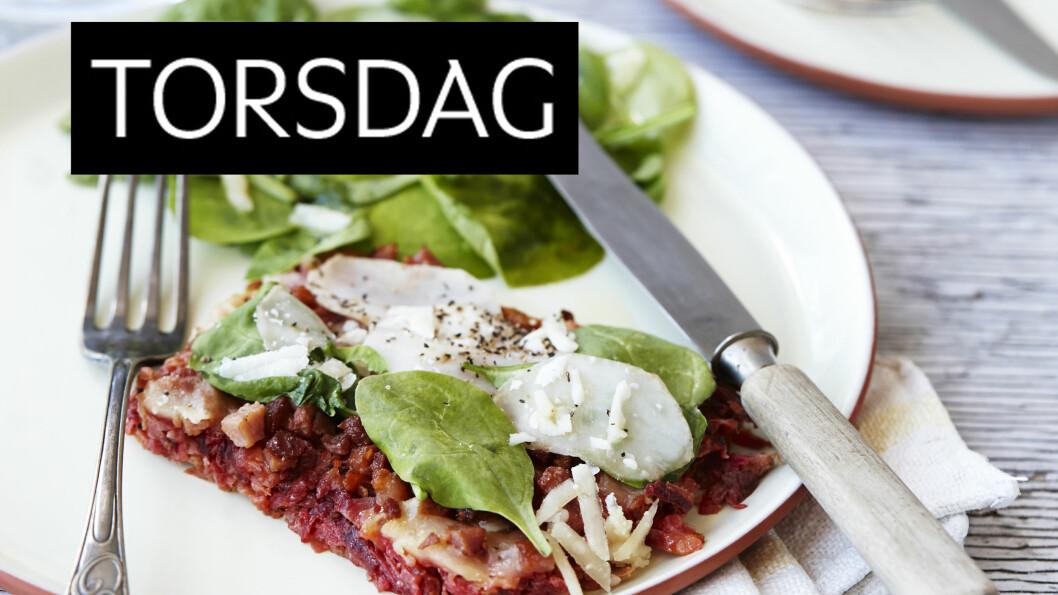 PIZZA MED ROTFRUKTBUNN OG BACON: Denne pizzaen ser kanskje ikke helt ut som den pleier, men du fristes garantert til et ekstra stykke! Foto: All Over Press Denmark