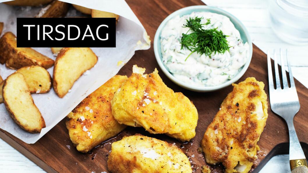 FISH`N CHIPS: Ekte engelsk kosemat for hele familien. Middagen blir en klar favoritt. Foto: Columbus Leth
