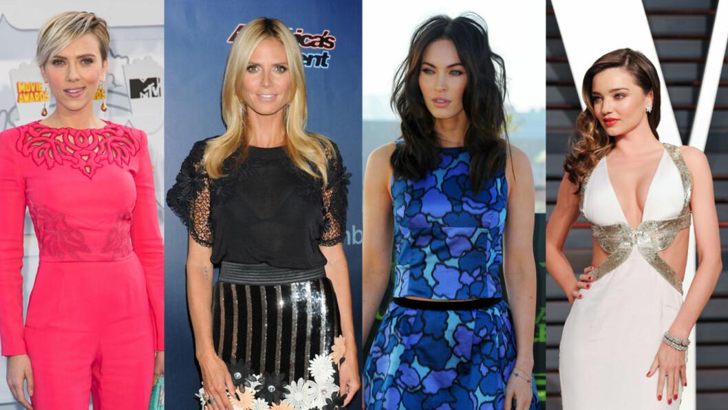 TRENDDIETT: Amerikanske medier skriver at Scarlett Johansson (f.v.), Heidi Klum, Megan Fox og Miranda Kerr skal være blant kjendisene som har prøvd eplecider-dietten. Foto: NTB Scanpix