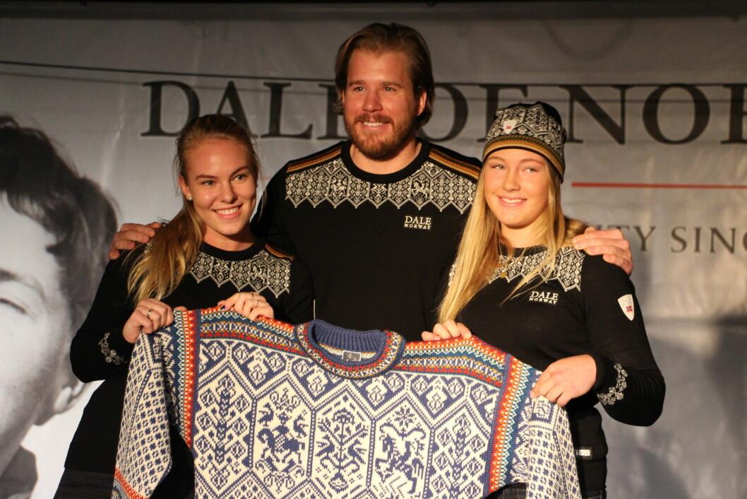 UNGDOMS-OL: Slik ser genseren til vinterens store begivenhet ut: Ungdoms-OL i Lillehammer. Kjetil Jansrud (30) poserer med to potensielle OL-deltakere. Foto: KK.no