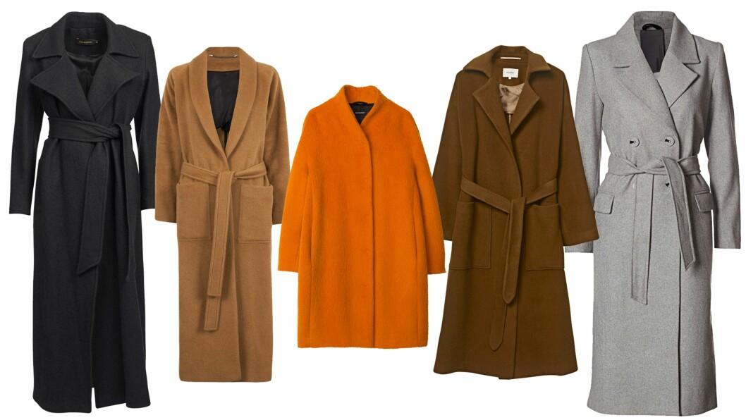 <strong>KÅPER I HØST:</strong> For et uanstrengt og kult antrekk kan du kombinere kåpen med en lue, boots og en tversoverveske.  Foto: Produsentene