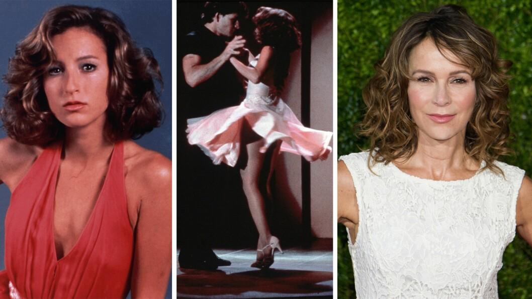 JENNIFER GREY: Bildet til venstre er fra Greys Dirty Dancing-dager, 27 år gammel, og bildet til høyre er fra 2015. I midten er hun og Patrick Swayze i full sving i filmen. Foto: Scanpix