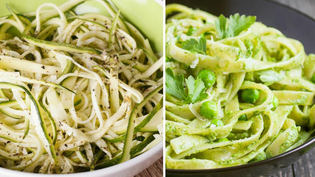 SQUASH og PASTA: På tallerkenen til venstre finner du zucchini, på den til høyre vanlig pasta.    Foto: NTB Scanpix