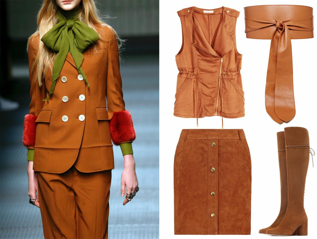 Gucci hadde kombinert den lekre karamellfargen med eplegrønt og blodrødt.  Foto: Scanpix og Produsentene