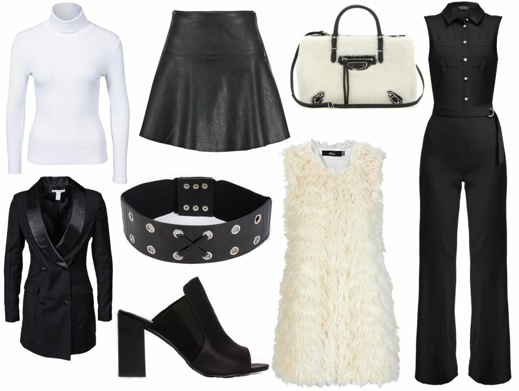 La deg inspirere av Louis Vuitton sin kolleksjon og gå for en garderobe i sort og hvitt. Kombiner en hvit polotrøye med et skinnskjørt, et bredt belte og en pelsvest. Eller en jumpsuit med en saueskinnsveske.  Foto: Scanpix.