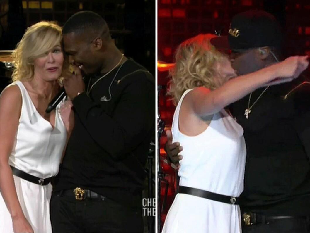 KLINTE TIL: Chelsea Handler og 50 Cent på sesongavslutningen av Handlers talkshow Chelsea Lately. Foto: Scanpix