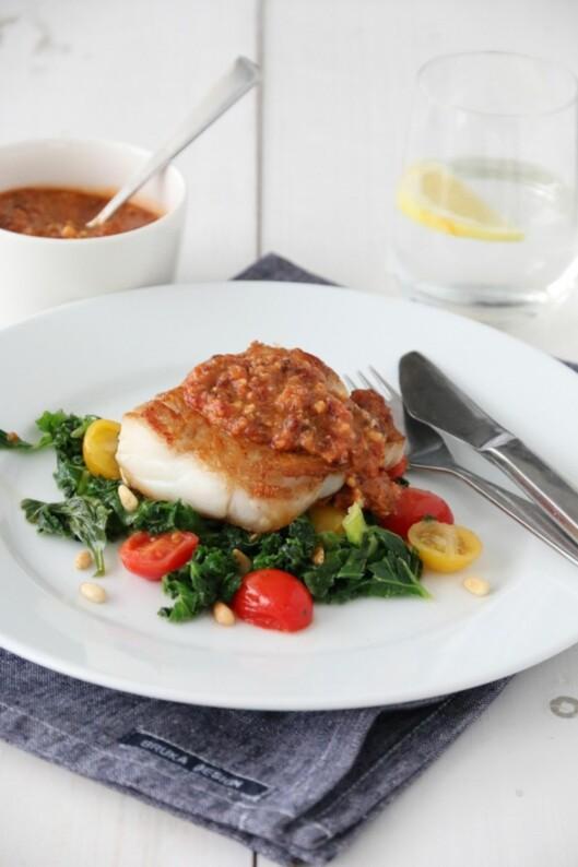 SMØRDAMPET GRØNNKÅL: Perfekt sammen med torsk! Foto: Trines matblogg