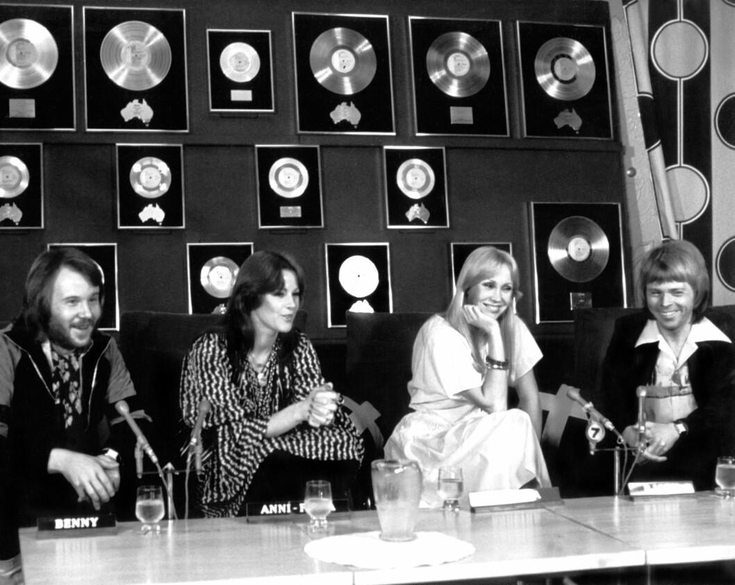 Abba, [Benny Andersson, Anni-Frid Lyngstad (aka Frida), Agnetha Faltskog, Bjorn Ulvaeus], at Austrailian Press Conference, circa late 1970s *** Local Caption *** 30.210715 Foto: All Over Press