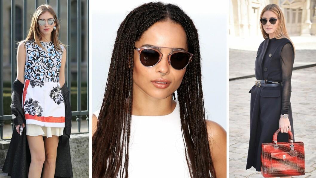SOLBRILLETREND: Disse solbrillene fra Dior er det hotteste tilbehøret blant kjendisene akkurat nå! Foto: Scanpix