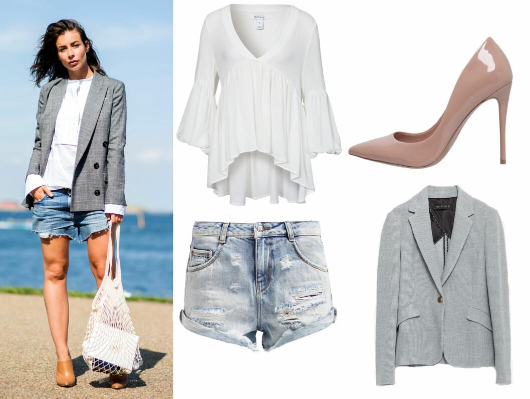Et perfekt høstlig sommerantrekk, er å kombinere dressjakken med en olashorts eller skjørt, skjorte og høye hæler. Akkurat passe pyntet og kledd.  Foto: Scanpix og Produsentene.