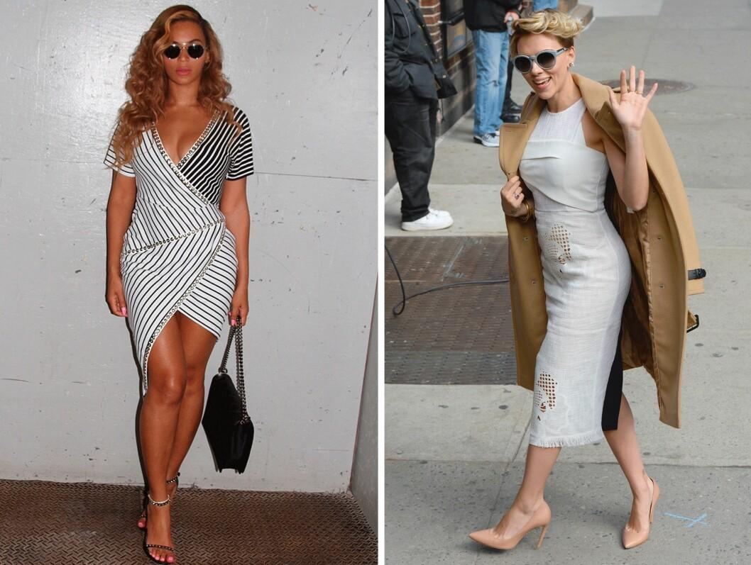 TIMEGLASS: (f.v.) Beyonce Knowles (33) og Scarlett Johansson (30). Foto: Scanpix