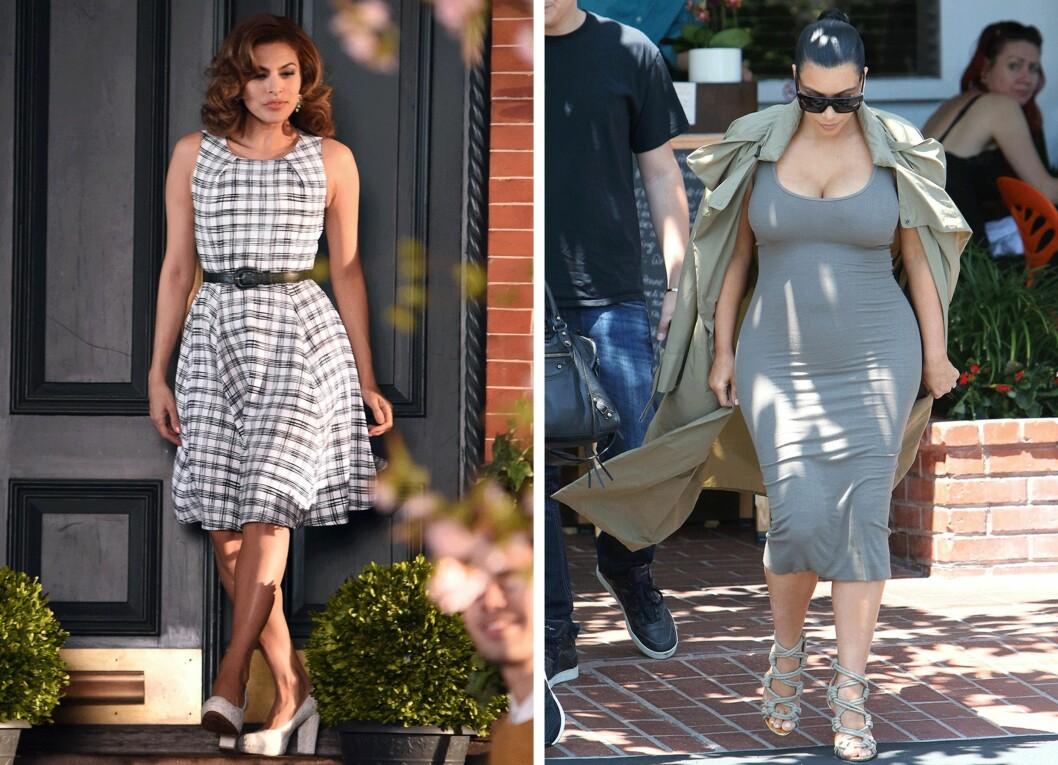 PÆRE: (f.v.) Eva Mendes (41) og Kim Kardashian (34). Foto: Scanpix