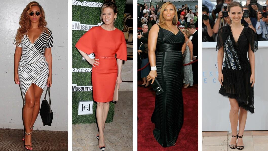 ULIKE KROPPSFASONGER: (f.v.) Beyonce (33), Renee Zellweger (46), Queen Latifah (45) og Natalie Portman (34) har alle forskjellige kroppsformer. Foto: Scanpix