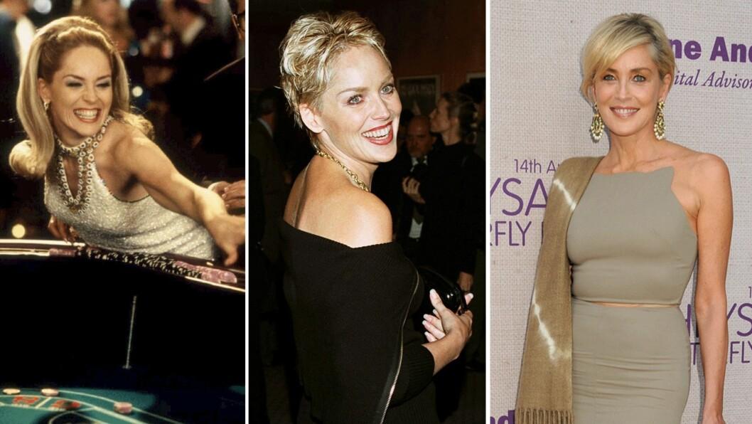 SHARON STONE - FORTSATT VELDIG VAKKER: Bildene (fra venstre til høyre) er fra 1995, 1998 og 2015.  Foto: Scanpix