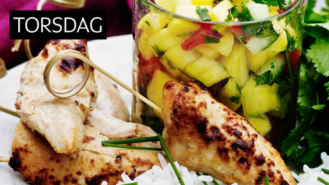 <strong>MANGOSALSA:</strong> Lekker rett med saftig og velsmakende salsa av mango, agurk, tomat og koriander. Foto: All Over Press