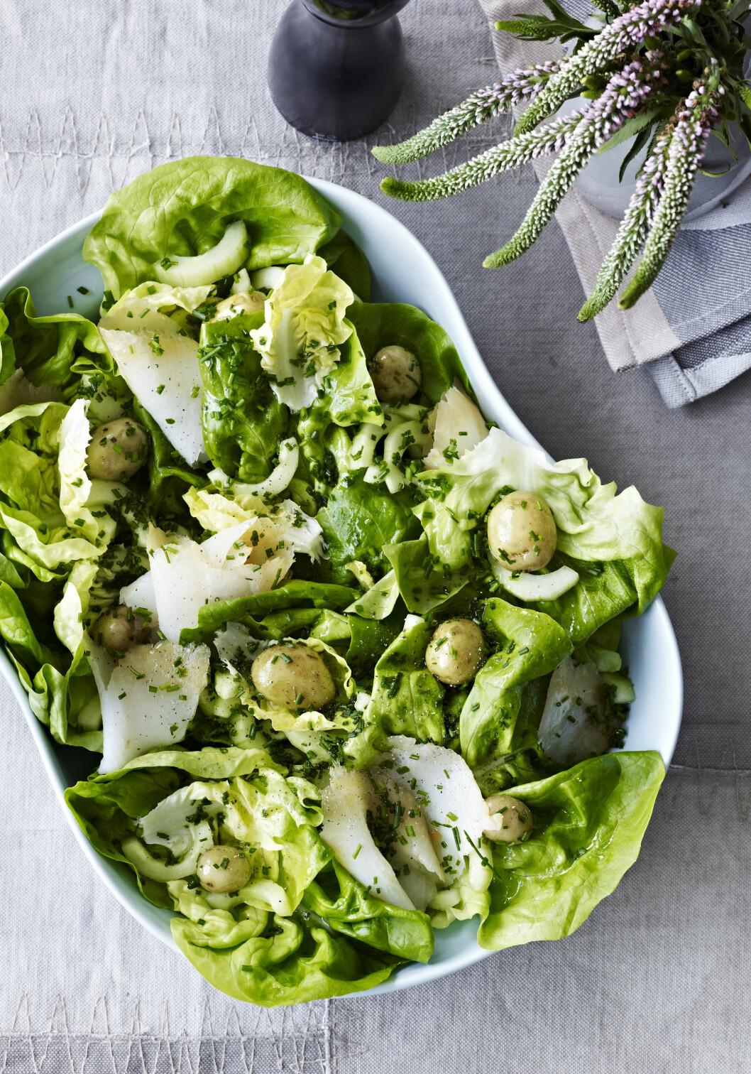 Salat med røkt kveite og nypoteter Foto: All Over Press
