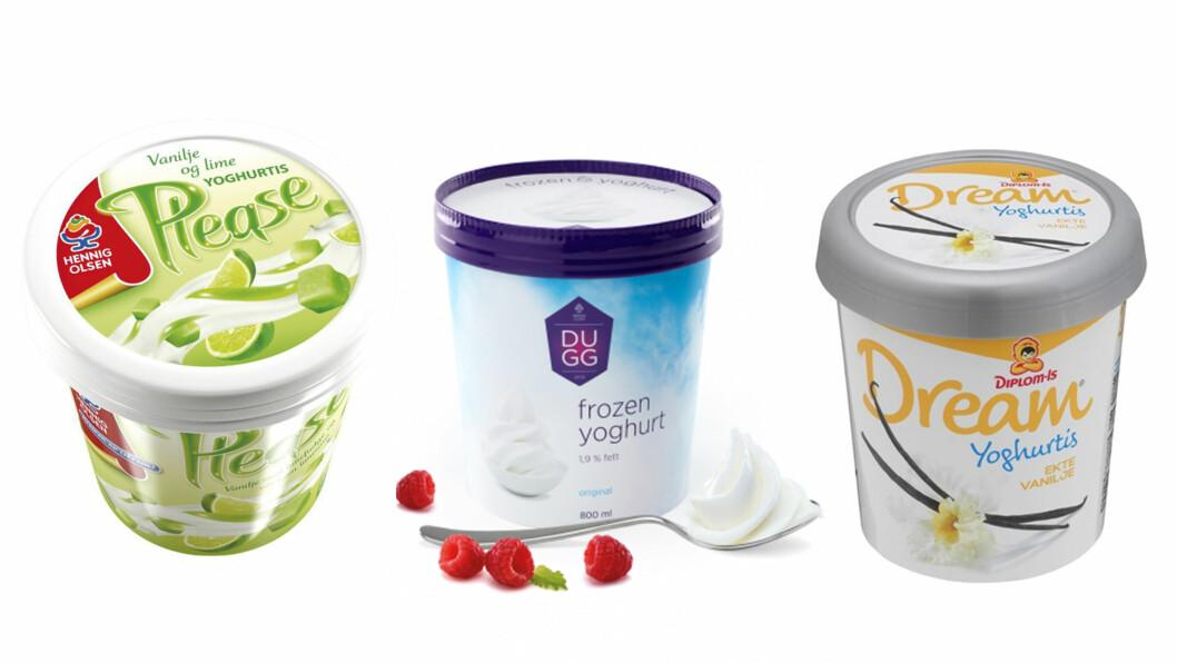 SJEKK INNHOLDET I YOGHURTISEN: Noen yoghurtiser inneholder mer yoghurt enn andre. Sjekk hva disse tre inneholder nederst i saken! Foto: Produsentene