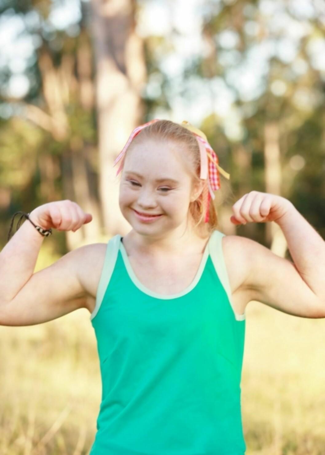 GIKK NED 20 KG: Stuart bestemte seg for å gå ned i vekt og satse på modelldrømmen. Nå kan du se henne i treningsklær fra Manifesta. Foto: Manifesta