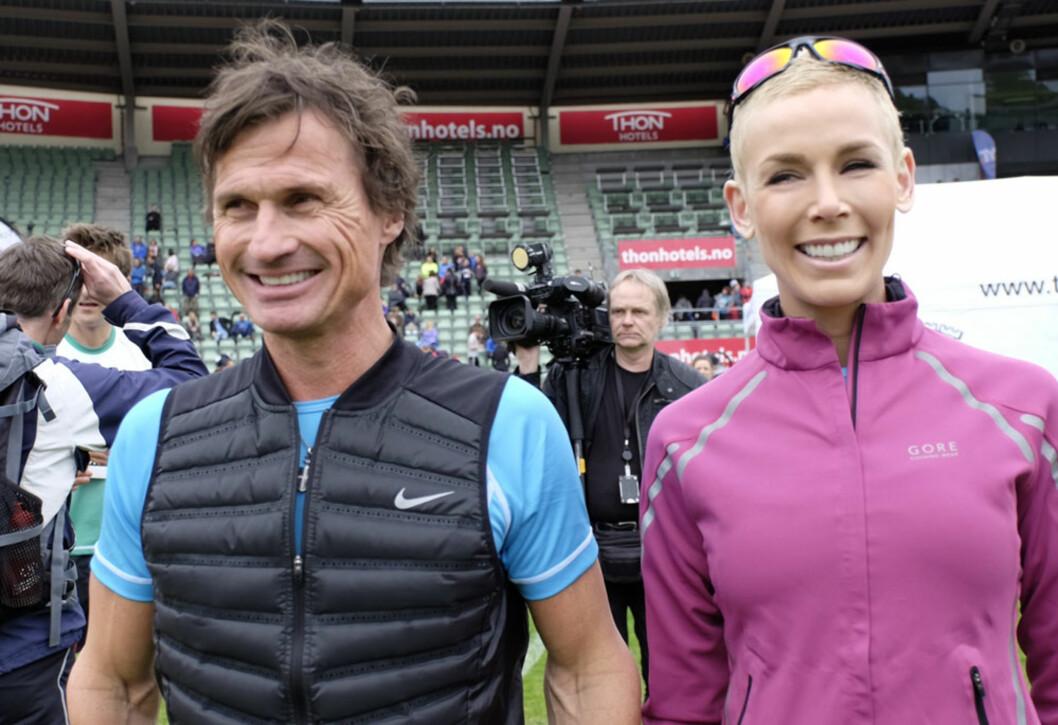 GA SYKDOMMEN ET ANSIKT: Her er Gunhild Stordalen med ektemannen Petter under Holmenkollstafetten for noen uker siden. Foto: NTB Scanpix