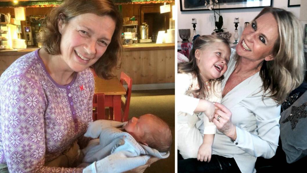 OVER 45 ÅR OG MAMMA: Både Anne Kathrine Slungård (t.v.) og Ellen Arnstad synes det er lettere å være småbarnsmødre som godt voksne.  Foto: Privat